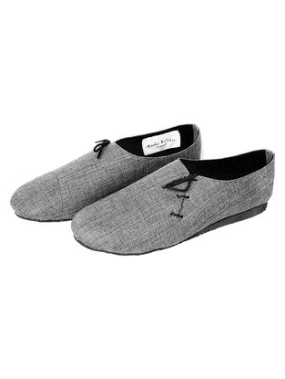 Grey Handcrafted Cotton Shoes