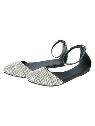 Grey-Black Handcrafted Woven Cotton Sandals