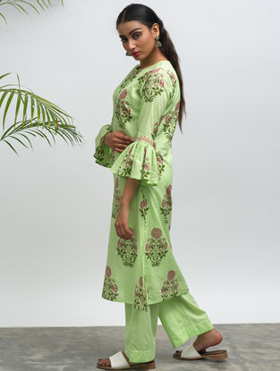 Green Block-printed Cotton Kurta with Pants (Set of 2)