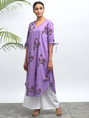 Purple Block-printed Cotton Kurta with Pants (Set of 2)