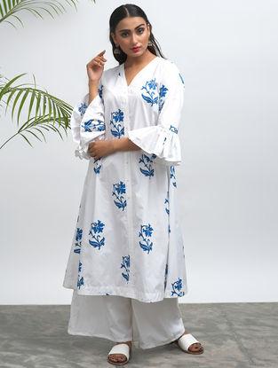 White Block-printed Cotton Kurta with Pants (Set of 2)