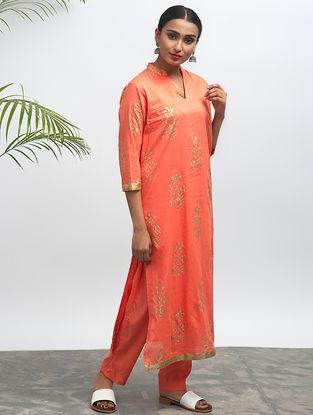 Orange Block-printed Cotton Kurta with Pants (Set of 2)