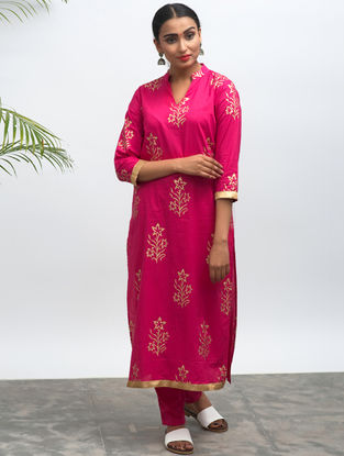 Pink Block-printed Cotton Kurta with Pants (Set of 2)