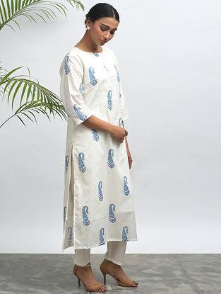White Block-printed Cotton Kurta