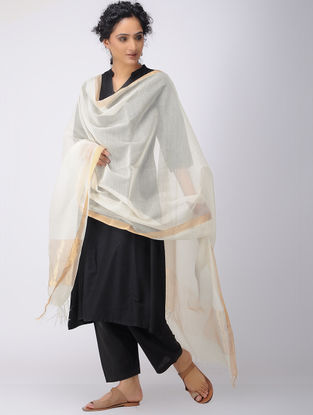 Ivory Silk Cotton Dupatta with Zari Border