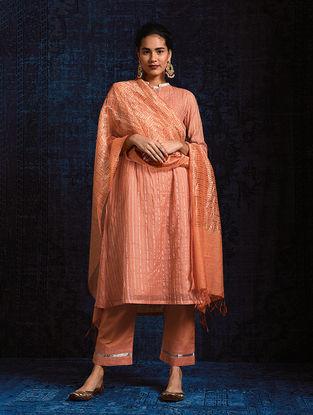 Peach Silk Cotton Dupatta with Zari