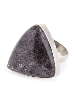 Brown Lodolite Silver Adjustable Ring
