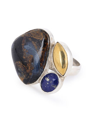 Pietersite and Lapis Lazuli Silver Adjustable Ring