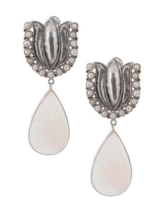 Pearl and Moonstone Silver Earrings