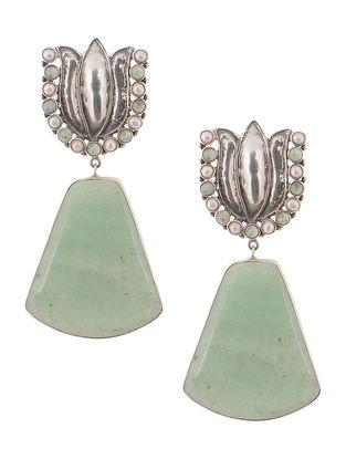 Pearl and Grape Aventurine Silver Earrings