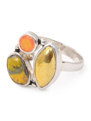 Carnelian and Bumble Bee Jasper Adjustable Silver Ring