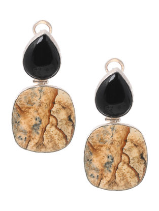 Black Onyx and Picture Jasper Silver Earrings