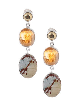 Iron Pyrite and Jasper Silver Earrings