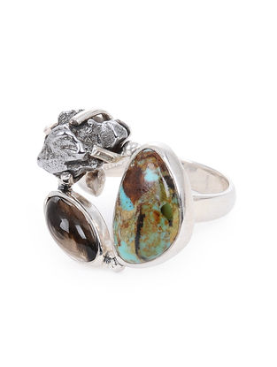 Smoky Quartz and Boulder Turquoise Adjustable Silver Ring