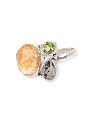 Peridot and Tumbled Citrine Adjustable Silver Ring