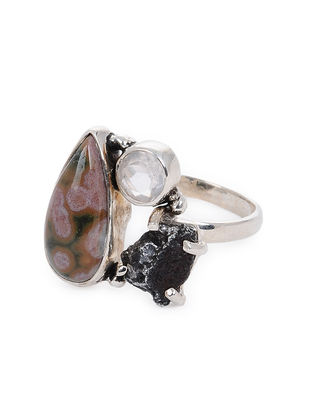 Rose Quartz and Ocean Jasper Adjustable Silver Ring