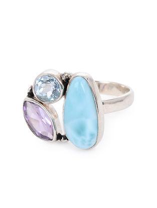 Blue Topaz and Larimar Adjustable Silver Ring