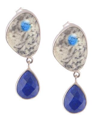 K2 Jasper and Lapis Lazuli Silver Earrings