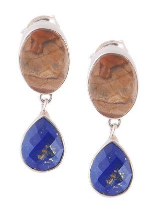 Jasper and Lapis Lazuli Silver Earrings