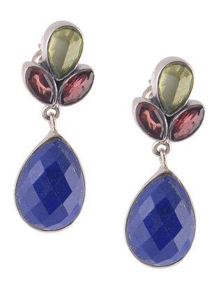 Lapis Lazuli and Garnet Silver Earrings