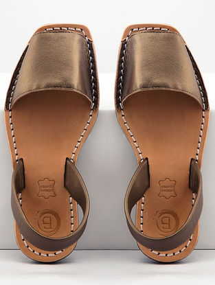 Bronze Handcrafted Leather Slip-Ons
