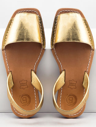 Gold Handcrafted Leather Slip-Ons