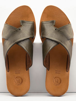 Olive Handcrafted Leather Flats