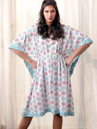 White-Blue Printed Cotton Kaftan