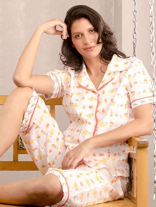 White-Yellow Printed Cotton Sleepwear (Set of 2)