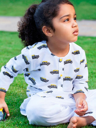 White Taxi Printed Cotton Kurta Pyjama Set for Kids