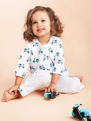 White Scooter Printed Cotton Kurta Pyjama Set for Kids