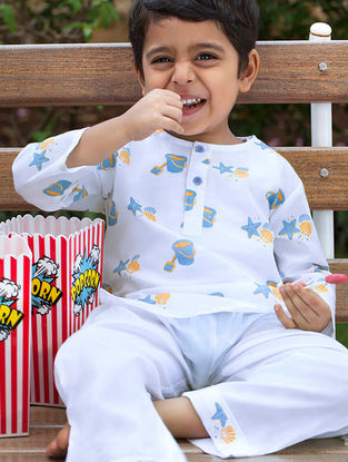 White Bucket and Shell Printed Cotton Kurta Pyjama Set for Kids