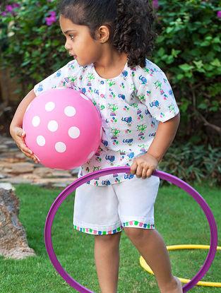 White Circus Elephant Printed Cotton Kurta Pyjama Set for Kids