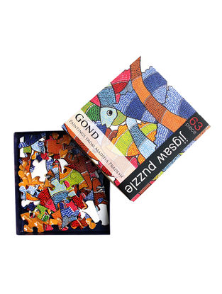 Multicolored Jigsaw Puzzle with Gond Artwork