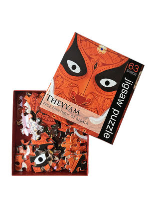 Multicolored Jigsaw Puzzle with Theyyam Artwork