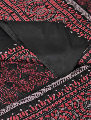 Black-Pink Kantha-embroidered Tussar Silk Dupatta