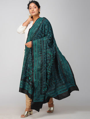 Black-Blue Kantha-embroidered Tussar Silk Dupatta