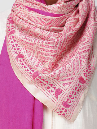 Ivory-Pink Kantha-embroidered Tussar Silk Stole