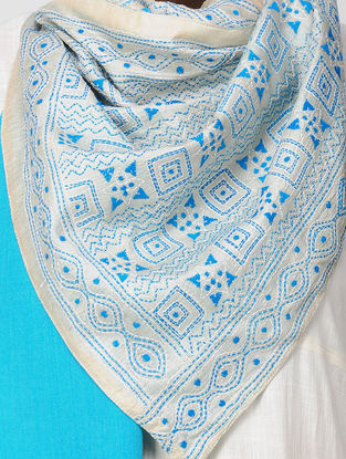 Ivory-Blue Kantha-embroidered Tussar Silk Stole