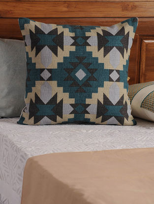 Aztec Square Blue-Black Cushion Cover 18in X 18in