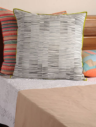 Marine Drive White-Charcoal Cushion Cover 24.5in X 24in