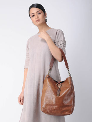 Tan Handcrafted Leather Hobo Bag