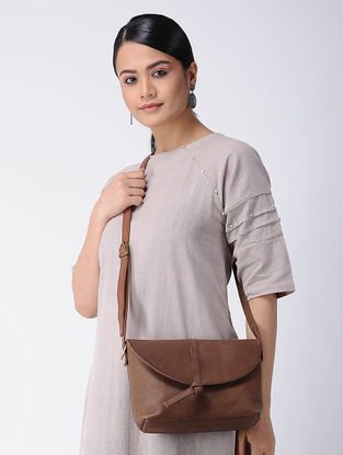 Brown Handcrafted Leather Sling Bag