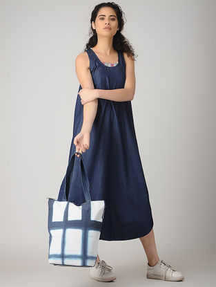 Blue-White Handcrafted Tie and Dye Cotton Tote