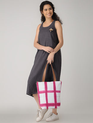 Pink-White Handcrafted Tie and Dye Cotton Tote