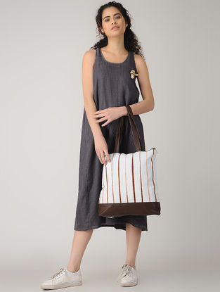 Brown-White Handcrafted Tie and Dye Cotton and Leather Tote