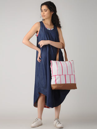 Pink-White Handcrafted Tie and Dye Cotton and Leather Tote