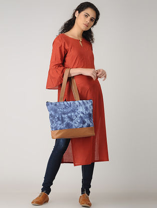 Blue-Brown Handcrafted Tie and Dye Cotton and Leather Tote