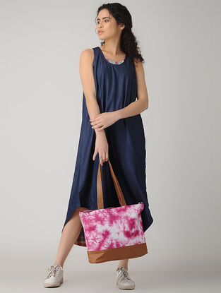 Pink-Brown Handcrafted Tie and Dye Cotton and Leather Tote