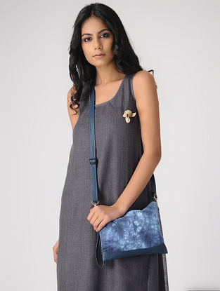 Blue Handcrafted Tie and Dye Cotton and Leather Sling Bag